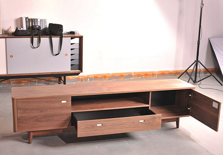 Fancy design wooden TV stand MDF board with ash solid wood veneer