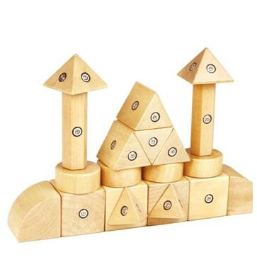 20Pieces Wooden Magnetic Building Toys Kids Toys Educational Wooden Magnetic Toys
