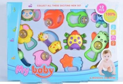 12 pcs high quality plastic baby rattle toy