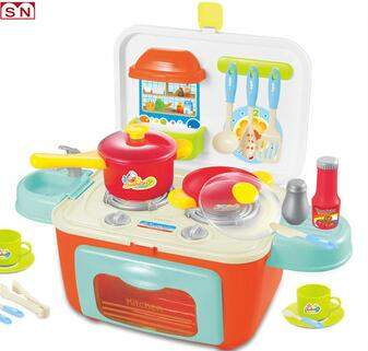 Preschool plastic modern kitchen set light and sounds cooking mini gas stove toys
