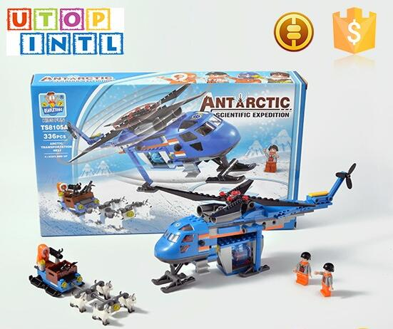 ABS eco-friendly Antarctic Scientific Explortion aircraft building block toy