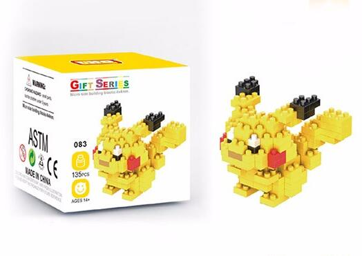 For Children Gift Pikachu Diamond Abs Plastic Building Toys Nano Block