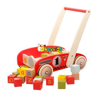 wholesale new products baby wooden push along walker best design kids wooden push along walker with building blicks W16E067