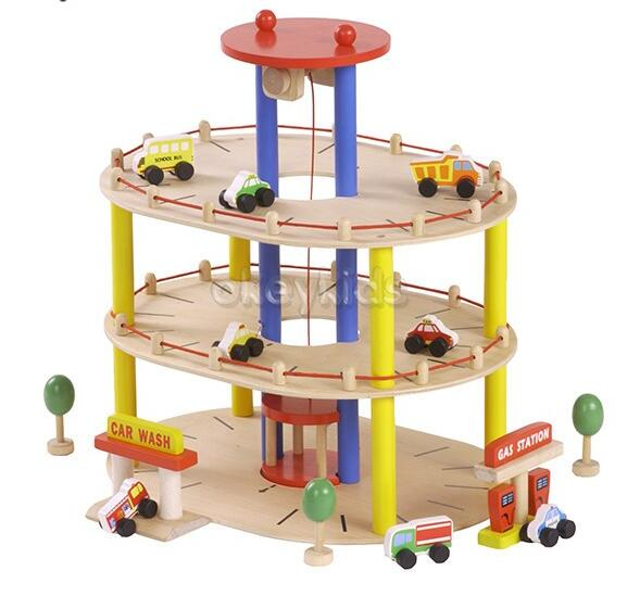wholesale wooden toy garage for toddlers , hot sale wooden toy garage for toddlers , best toy garage for toddlers W04B045