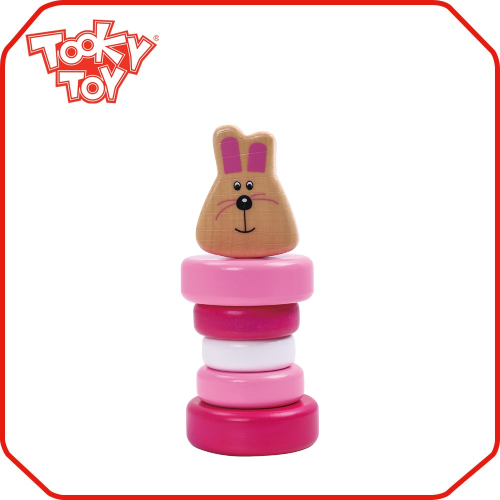 Stacking Ring Cone Sorting Wooden Rabbit Rattle