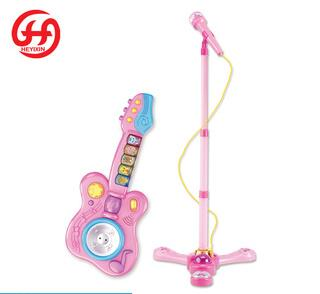 Girl favorite gift kids toy cheap china electric guitar with microphone combination