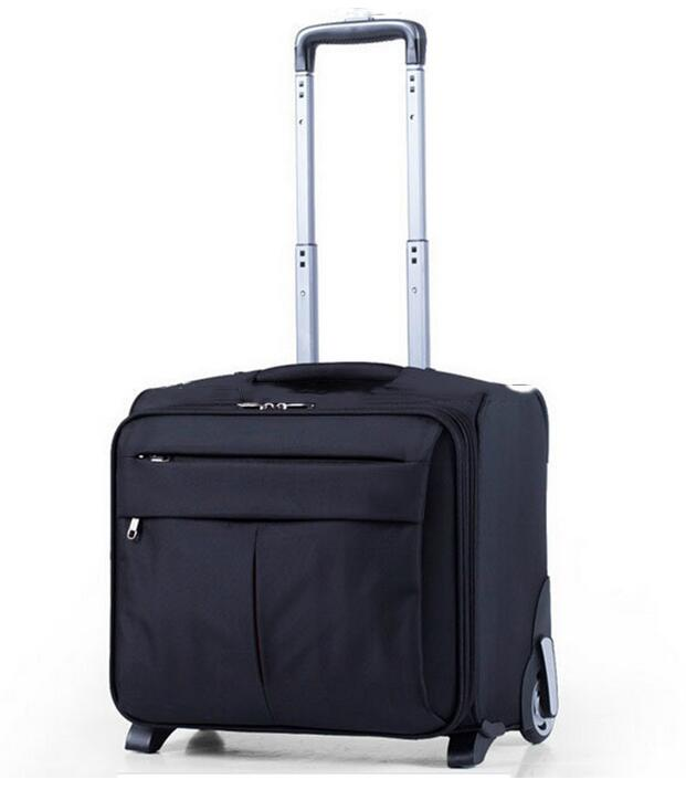 China Wholesale Customized 600D Polyester Wheeled Trolley Luggage Business Travel Suitcase Bag