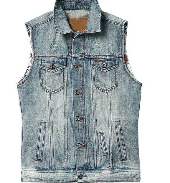 Wholesale 100% Cotton Indigo Fashion Biker Men's Denim Waistcoat