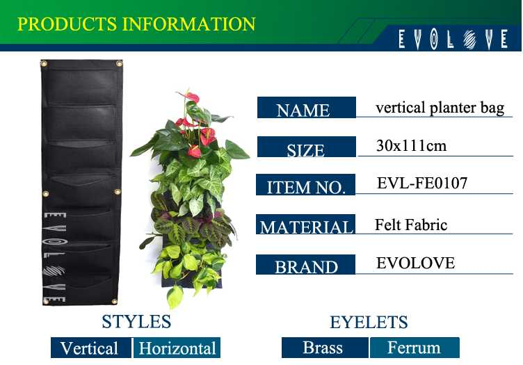 Felt green vertical garden grow bag