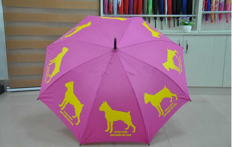 Stick auto open custom print gift umbrella,dog logo printing umbrella
