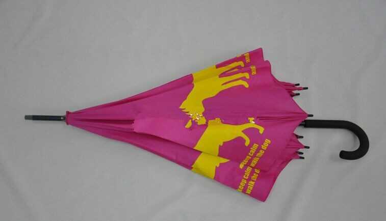 Stick auto open custom print gift umbrella,dog logo printing umbrella
