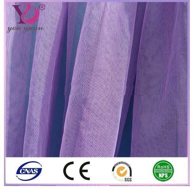 Polyester nylon knit dyed children wedding dress/clothing mesh fabric