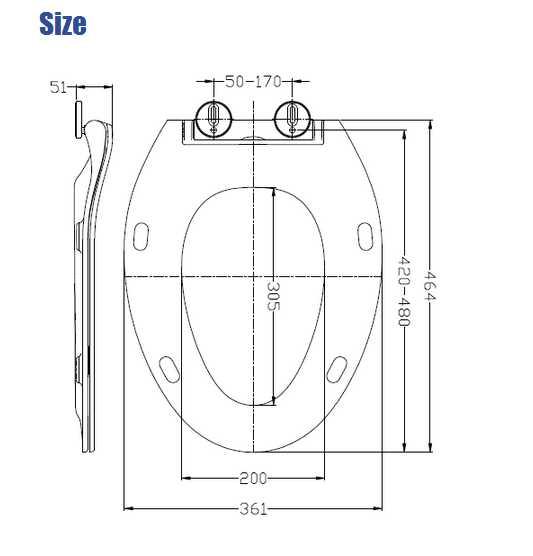 19inch super slim UF wc seat cover in American standard shape