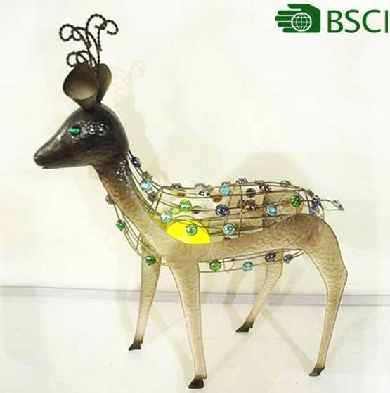 YS14276RV handicraft deer metal craft with a solar light for home decor