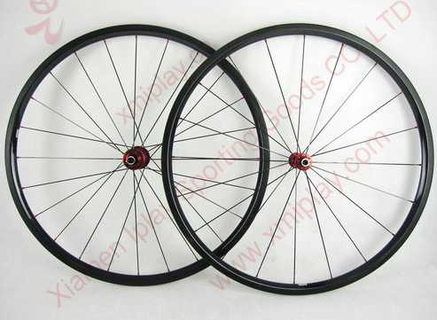 Depth 24mm bicycle wheelset 3k glossy carbon road wheelset clincher 23mm wide