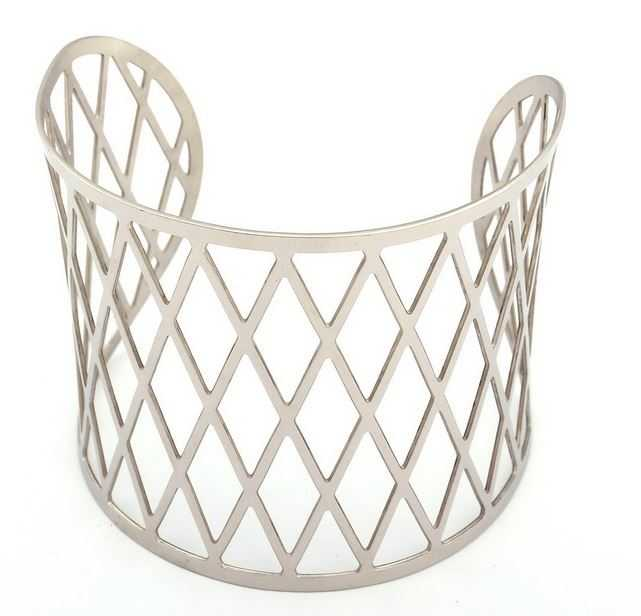 2014 Fashion Jewelry for Women Wholesale Vintage Silver Wide Open Cuff Gird Bangle Net Hollow Out Stainless Steel Bracelets