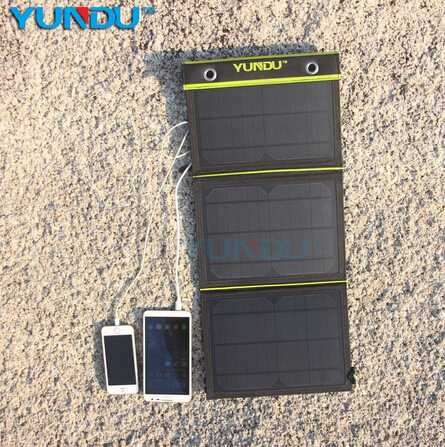 Private Label 10W 14W 15W Foldable Dual-Port Solar Power Bank Charger for Samsung S6 edge