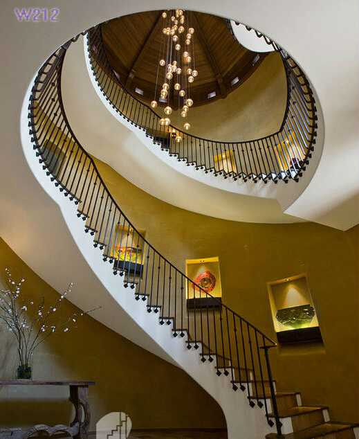 Interior Antique Staircase With Cast Iron Balustrade