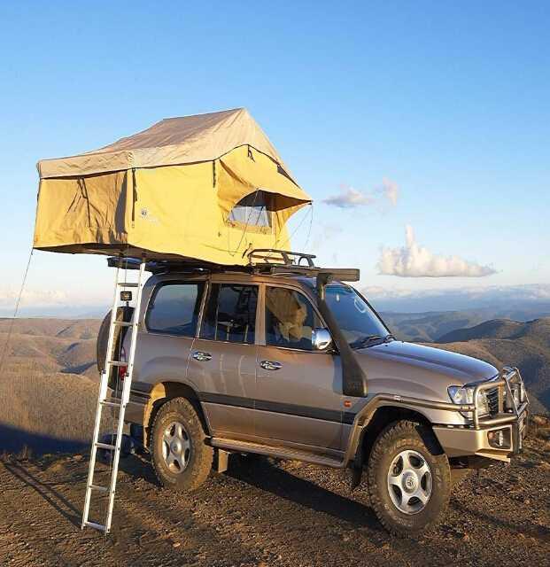 Single telescopic ladder for roof carrier