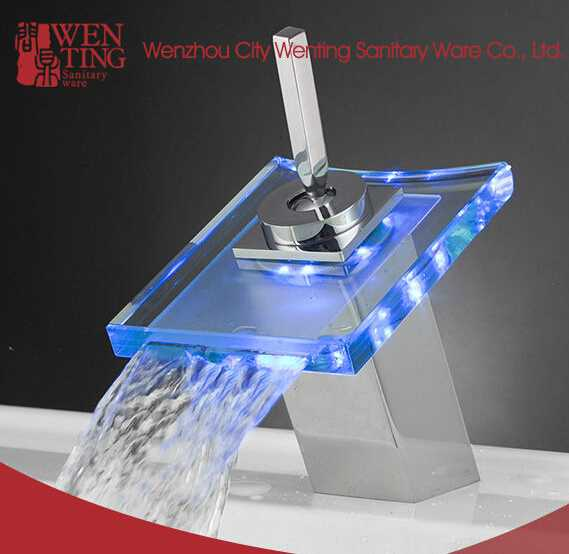 Waterfall LED glass wash basin with Faucet