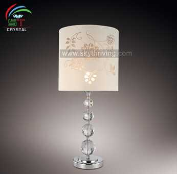 crystal table lamp crystal white color fabric shade table lamp