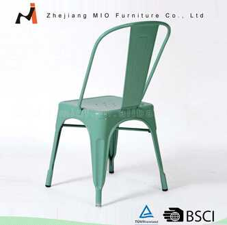 Powder coating metal chair with wood on top
