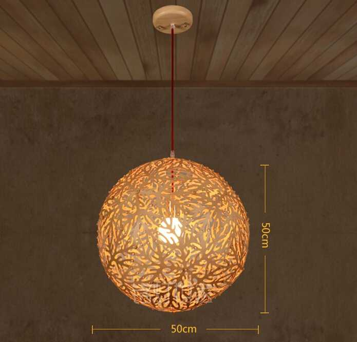 spheroidal wooden lampshade red hanging pendant lamp with E27 bulb
