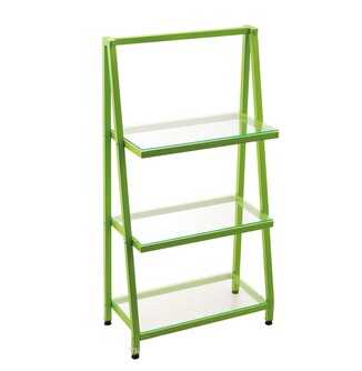 corner shelf glass shelf 3 tier shelf with metal frame 40033P8
