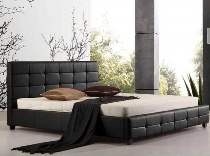 black pu leather bed