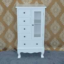European stye low price mdf wooden white display cabinet for space saving