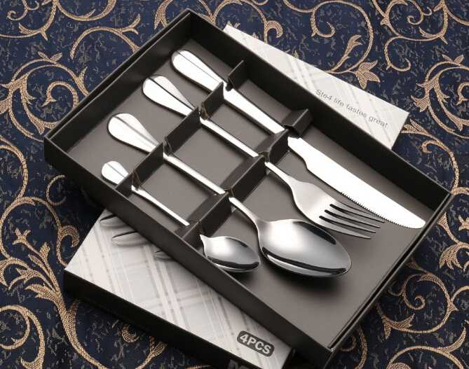 Four-Piece Silver Stainless Steel Cutlery Set
