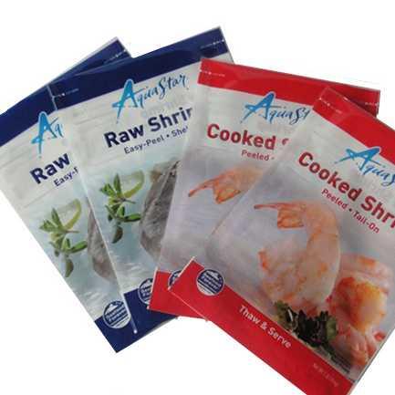 Three Sides Sealed Seafood Plastic Packaging Bag, Frozen Food Bag
