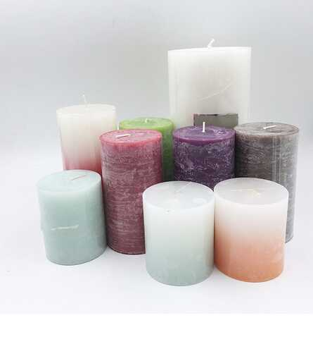 Multi-Colored Various Flavor Pillar Candle