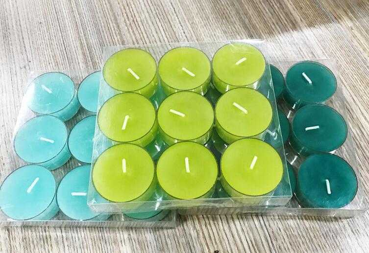 Customized logo non-scented wax tealight candle