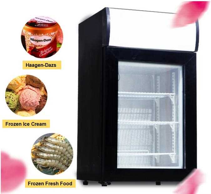 40L Commercial Upright Table Top Glass Door Mini Display Freezer Showcase Ice Cream Refrigerator With CE RoHS ETL