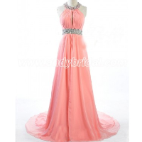 A-line Floor Length Chiffon Halter Rhinestone Prom Dress