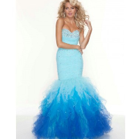 Mermaid Sweetheart Beaded Organza Ruffles Floor Length Evening&Prom Dresses Custom Made