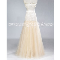 A-line Floor Length Organza Sweetheart Beaded Prom Dress
