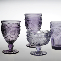purple bohemia crystal champagne flutes; drinking glassware