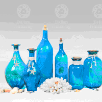 Handblown Gorgeous Designs Blue Glass Bottle With Starfish Decoration For Home Decor