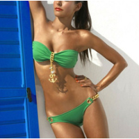 Metal Pendants Captain Bikinis Strapless Padded Swimsuit Sexy Swimwear