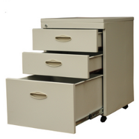 Three drawers movable cabinet