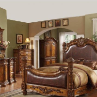 European High headboard Leather Bed, Carved solid wood bed, modern princess bed