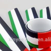 wholesale silicone UAE national flag slap bracelet UAE flag wristbands
