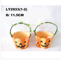 new design hallween pumpkin basket orange basket candy basket paper halloween pumpkin basket