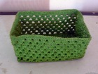 HH10004 - Green paper straw basket - Paper knit craft / handicraft
