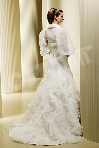 Off Shoulder With Short Sleeve Outer Bridal Gown Wedding Dress (02051103 )