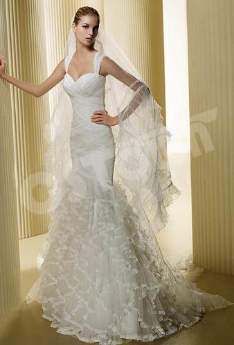 Sleeveless Mermaid With Net Appliqued Bridal Gown (02051106)