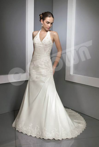 Classic Halter Embroidery Mermaid Bridal Gown (02051104)