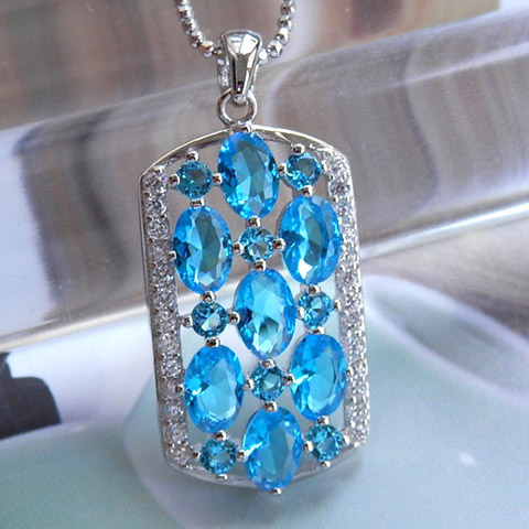 925 silver pendant charm blue topaz unique design